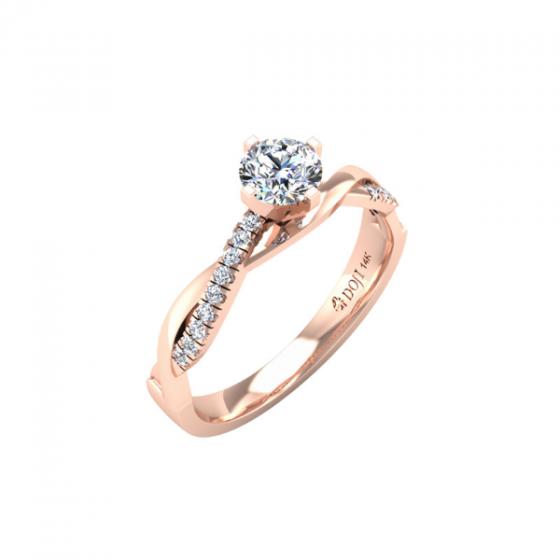 Nhẫn vàng hồng DOJI cao cấp 14K 0320R-LAL033