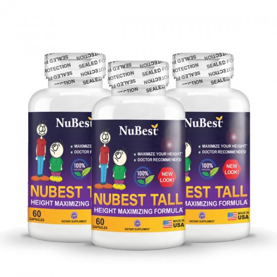 Combo 3 tặng 1 - thực phẩm bảo vệ sức khỏe hỗ trợ tăng chiều cao của Mỹ NuBest Tall - hộp 60 viên