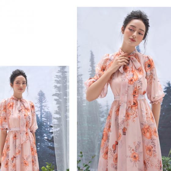 Đầm tơ hoa be HeraDG - WDP19030