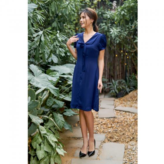 Đầm lụa màu xanh than HeraDG - SDP19109D