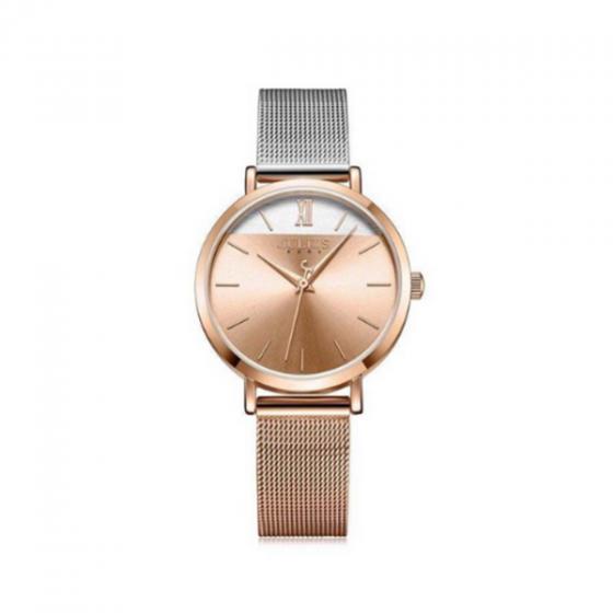 Đồng hồ nữ dây kim loại chính hãng julius hàn quốc ja-1237b đồng bạc