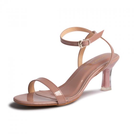Giày nữ, giày sandals cao gót thời trang Erosska phối dây quai mảnh kiểu dáng thanh lịch cao 7cm EM043 (màu hồng ruốc)