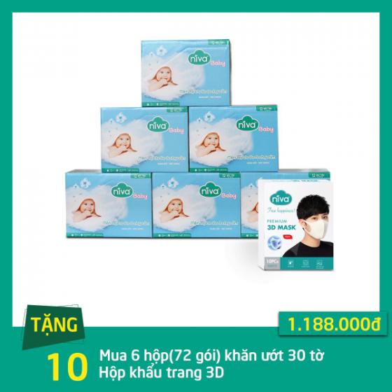 Mua 6 hộp khăn giấy ướt Niva 30 miếng( 72 gói) tặng 10 hộp khẩu trang 3D người lớn