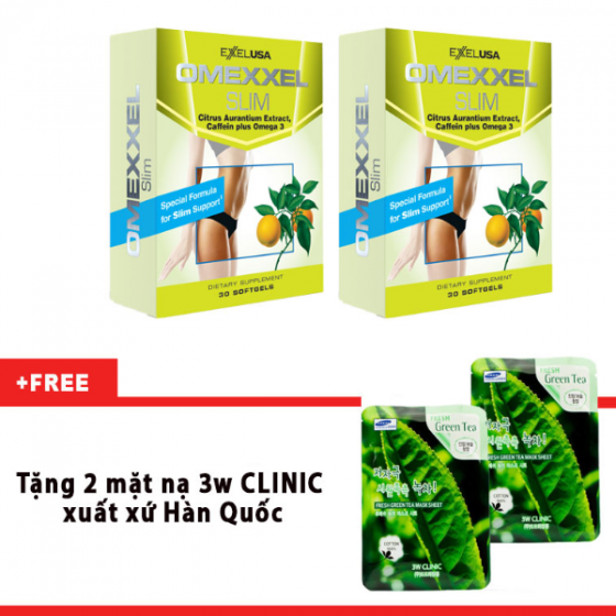 Combo 2 hộp viên uống giảm cân an toàn Omexxel Slim 60 viên- 2 tặng mặt nạ 3w clinic