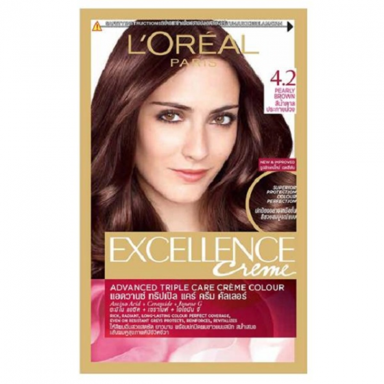 Thuốc nhuộm tóc Loreal excellence cream 4.2 pearly brown