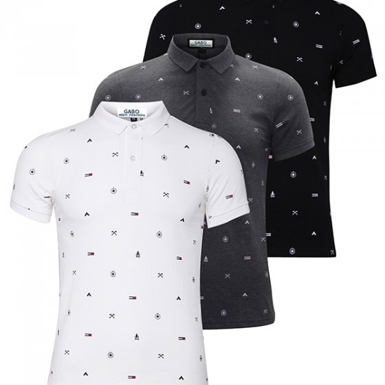 Bộ 3 áo thun nam cổ bẻ hoạ tiết cao cấp BAT001 (xám, trắng, đen) - Gabo Fashion