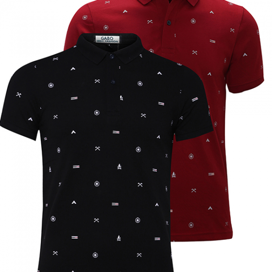Bộ 2 áo thun nam cổ bẻ hoạ tiết cao cấp BAT010 (đỏ, đen) - Gabo Fashion