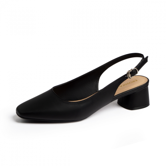 Giày nữ, giày cao gót thời trang Erosska mũi vuông phối dây quai mảnh kiểu dáng basic cao 5cm EL013 (màu đen)