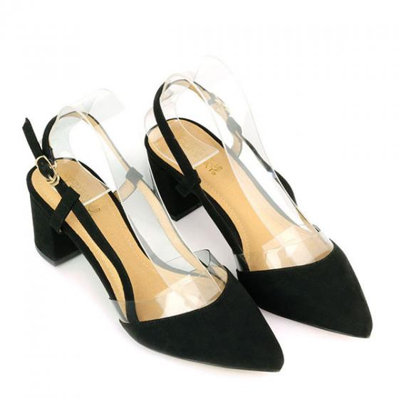 Giày sandal cao gót mũi nhọn SUNDAY CG51 - Màu đen