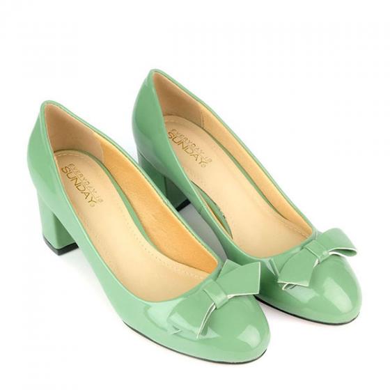 Giày bít gót vuông đính nơ SUNDAY CG52 - Màu xanh rêu