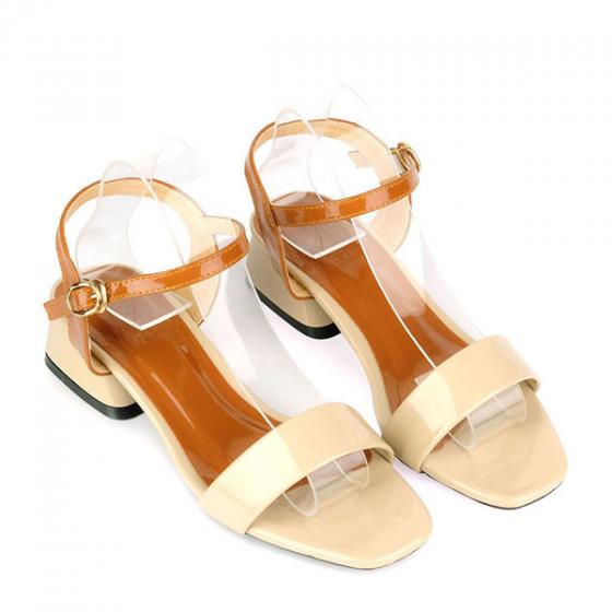 Giày sandal gót vuông quai ngang SUNDAY DV67 - Màu kem