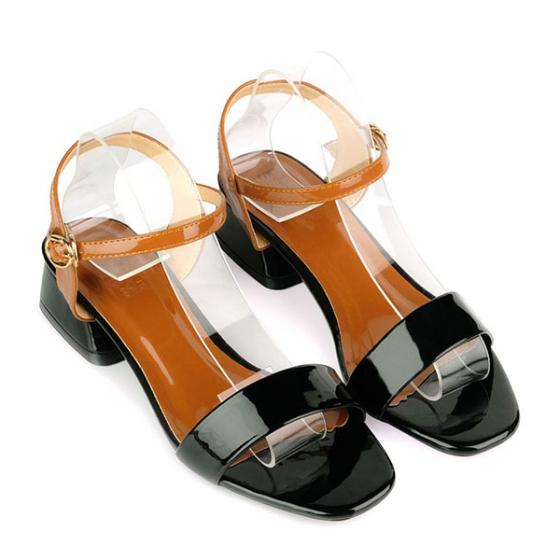 Giày sandal gót vuông quai ngang SUNDAY DV67 - Màu đen