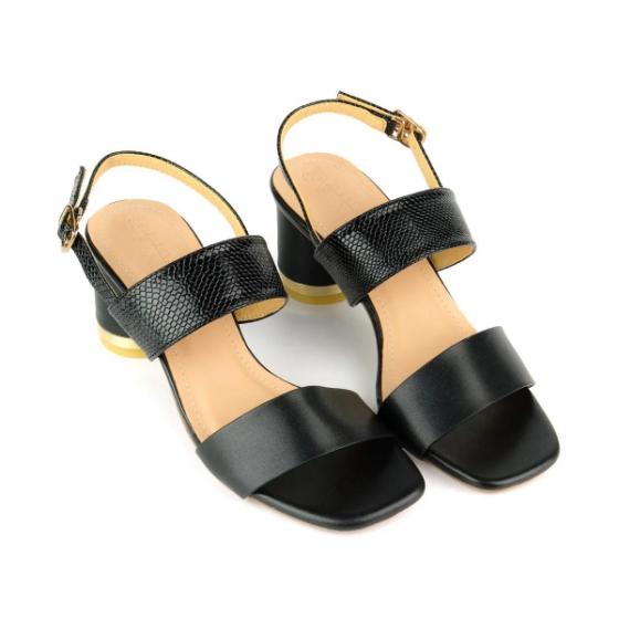 Giày sandal gót trụ họa tiết da rắn SUNDAY DV59 - Màu đen