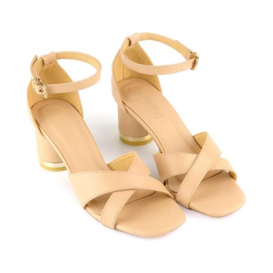 Giày sandal gót trụ quai đan chéo SUNDAY DV60 - Màu kem