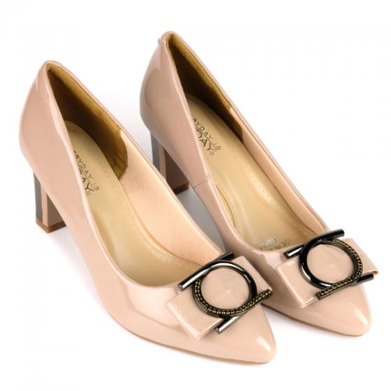 Giày cao gót đính nơ SUNDAY CG42 - Màu kem