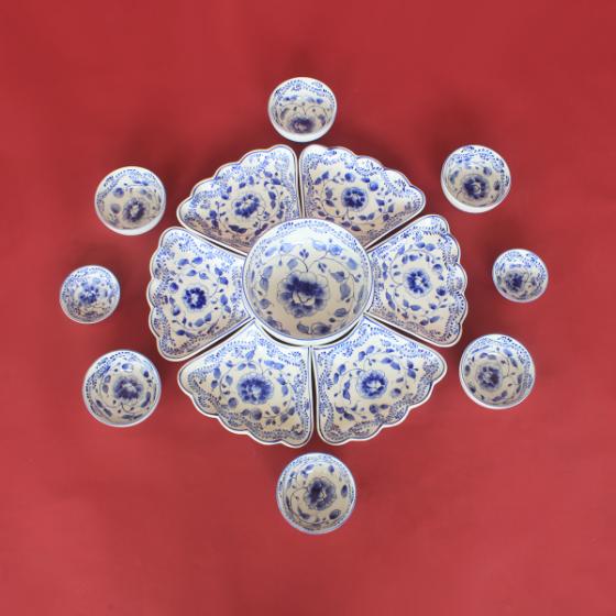 Bộ bát đĩa hoa mặt trời vẽ hoa Phù Dung chế tác thủ công tại Bát Tràng