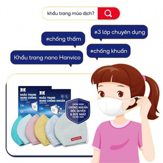 Bộ 2 chiếc Khẩu trang kháng khuẩn NANO bạc HANVICO KIDS trẻ em