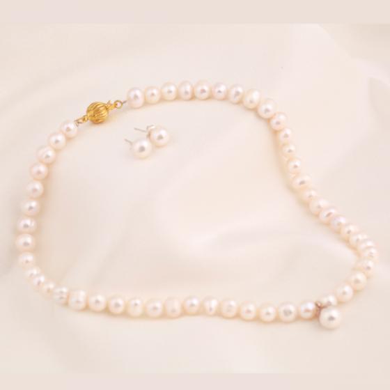 Set vòng cổ và hoa tai ngọc trai - Opal - S2PT6-13