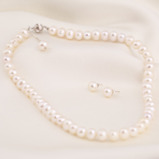 Set vòng cổ và hoa tai ngọc trai - Opal - S2PT6-07