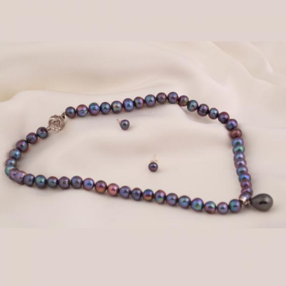 Set vòng cổ và hoa tai ngọc trai - Opal - S2PT6-05