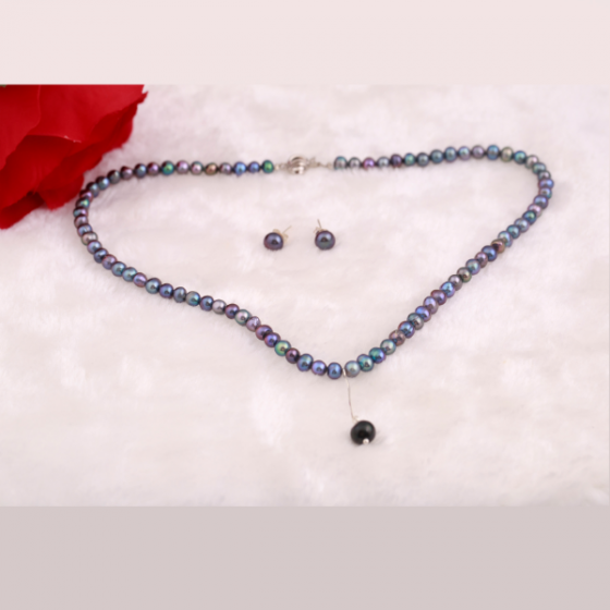 Set vòng cổ và hoa tai ngọc trai - Opal - S2PT6-01