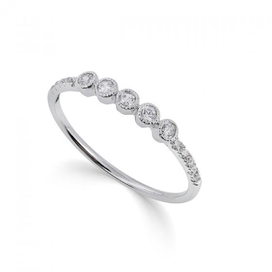 Nhẫn vàng trắng 14K DOJI 0220R-LAL301-OL
