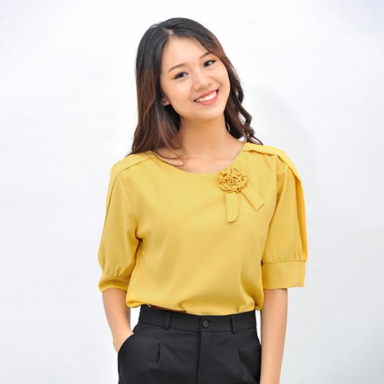 Áo kiểu nữ công sở thời trang Eden dáng suông cổ tròn phối hoa- ASM096