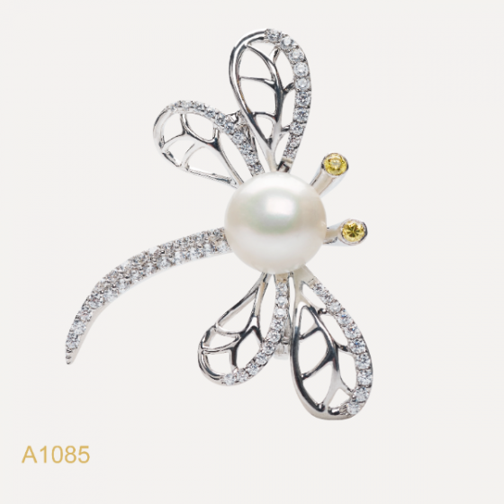 Cài áo ngọc trai Freshwater 10-11mm chất liệu bạc quý kim Kiểu dáng đơn giản thanh lịch A1085S0F33W075001C066