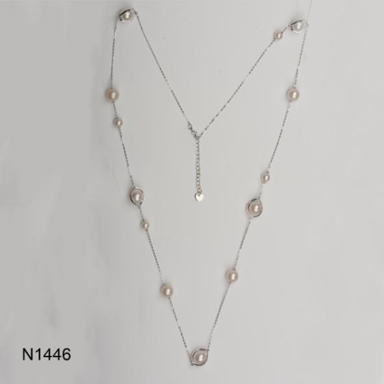 Dây chuyền ngọc trai Freshwater 6.5-11mm chất liệu bạc quý kim Sang trọng trẻ trung thanh lịch N1446S0F31W037013K000