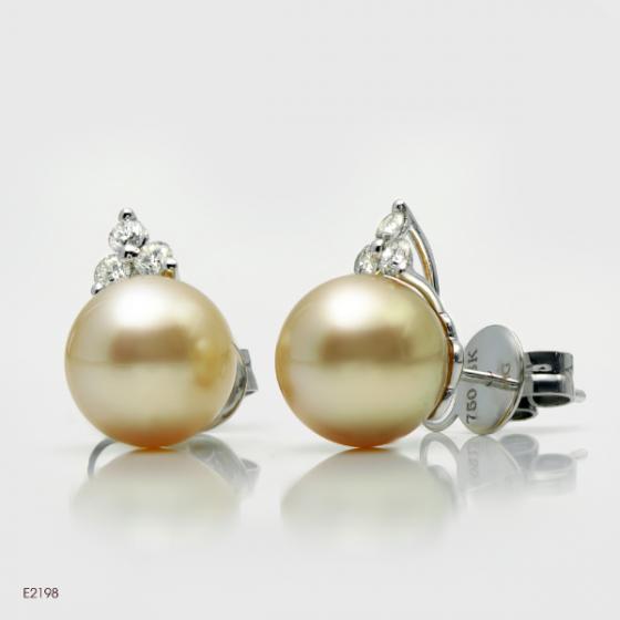 Bông tai-Khuyên tai-Hoa tai ngọc trai South Sea 10- 11mm chất liệu Vàng trắng Quý phái sang trọng E2198W5S11Y075002D006