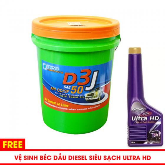 Nhớt động cơ diesel Thái Lan - D3 J Sae 50- Api CD-SF - 18l tặng súc béc dầu BCP ULTRA HD 200ml