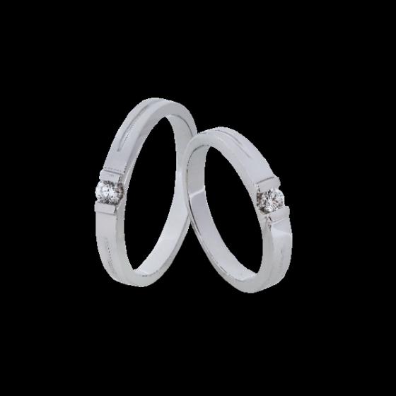 Cặp nhẫn đôi, nhẫn cưới vàng trắng DOJI cao cấp 14K đính đá Swarovski 0081