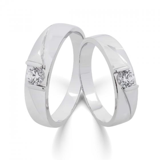Cặp nhẫn đôi, nhẫn cưới vàng trắng DOJI cao cấp 14K đính đá Swarovski 1713