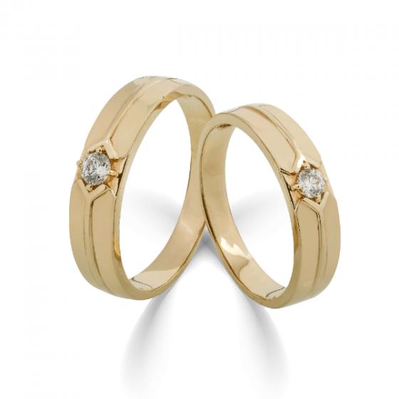 Cặp nhẫn đôi, nhẫn cưới vàng DOJI cao cấp 14K đính đá Swarovski 1710