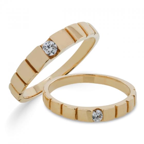 Cặp nhẫn đôi, nhẫn cưới vàng DOJI cao cấp 14K đính đá Swarovski 1668