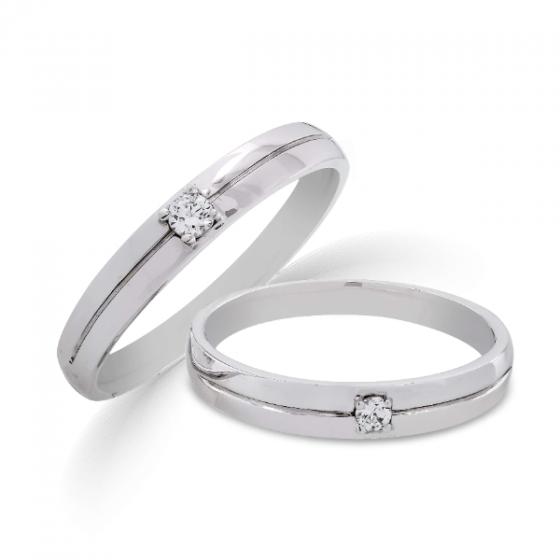 Cặp nhẫn đôi, nhẫn cưới vàng trắng DOJI cao cấp 14K đính đá Swarovski 1627