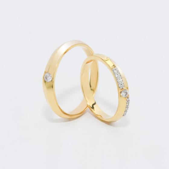 Cặp nhẫn đôi, nhẫn cưới vàng DOJI cao cấp 14K đính đá Swarovski 1623 - Vàng - Freesize