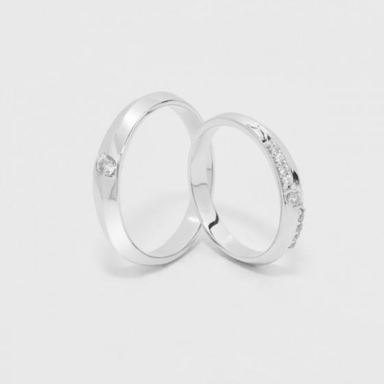 Cặp nhẫn đôi, nhẫn cưới vàng trắng DOJI cao cấp 14K đính đá Swarovski 1623 - Trắng - Freesize