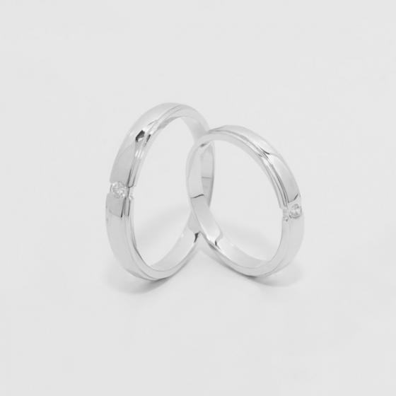 Cặp nhẫn đôi, nhẫn cưới vàng trắng DOJI cao cấp 14K đính đá Swarovski 1633 - Trắng - Freesize
