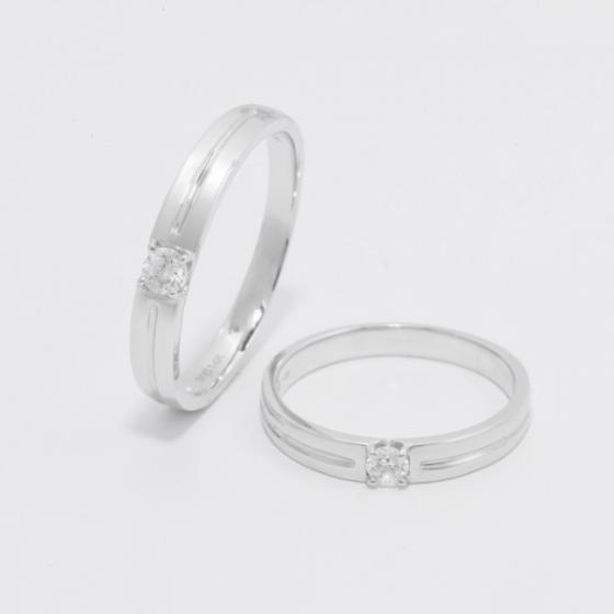 Cặp nhẫn đôi, nhẫn cưới vàng trắng DOJI cao cấp 14K đính đá Swarovski 1644 - Trắng - Freesize