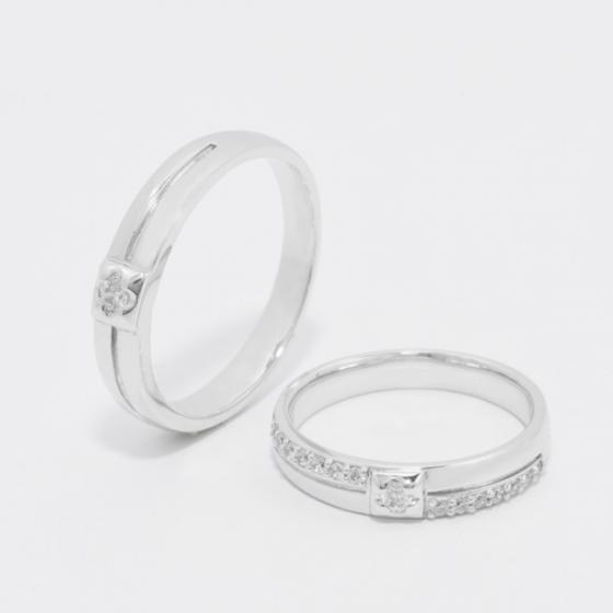 Cặp nhẫn đôi, nhẫn cưới vàng trắng DOJI cao cấp 14K đính đá Swarovski 1647 - Trắng - Freesize