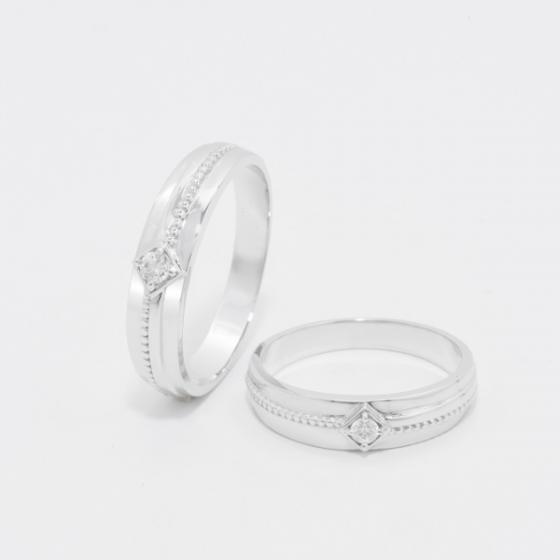 Cặp nhẫn đôi, nhẫn cưới vàng trắng DOJI cao cấp 14K đính đá Swarovski 1712 - Trắng - Freesize