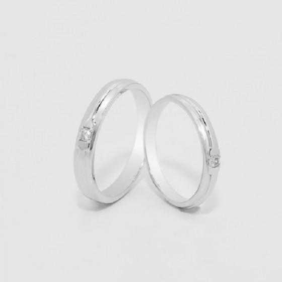 Cặp nhẫn đôi, nhẫn cưới vàng trắng DOJI cao cấp 14K đính đá Swarovski 1625 - Trắng - Freesize