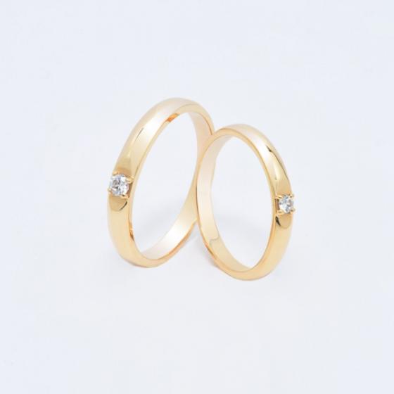 Cặp nhẫn đôi, nhẫn cưới vàng  DOJI cao cấp 14K đính đá Swarovski 1634 - Vàng - Freesize