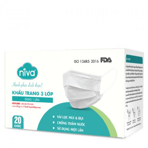 Hộp 20 chiếc khẩu trang Y tế Niva sms kháng khuẩn, chống bụi, bảo vệ sức khỏe