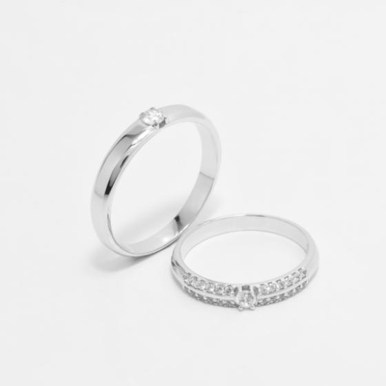 Cặp nhẫn đôi vàng trắng DOJI cao cấp 14K đính đá Swarovski JA1S