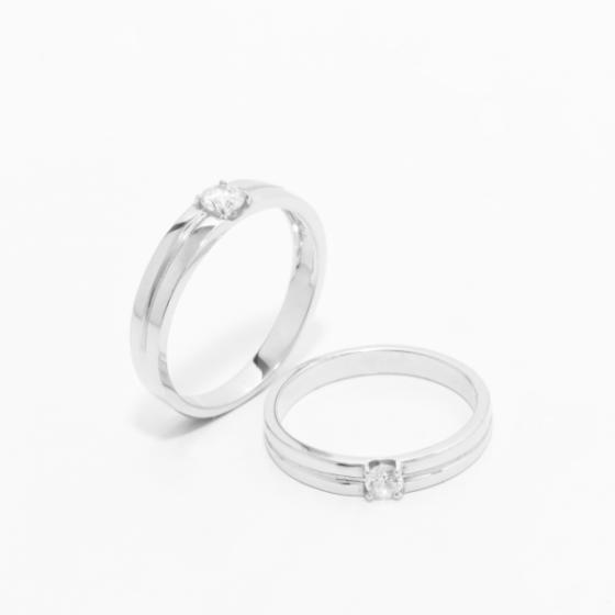 Cặp nhẫn đôi vàng trắng DOJI cao cấp 14K đính đá Swarovski JA2S