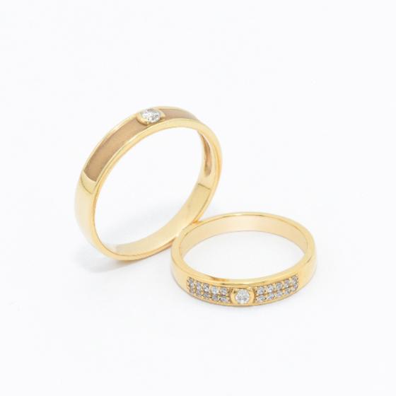 Cặp nhẫn đôi vàng vàng DOJI cao cấp 14K đính đá Swarovski JA4S
