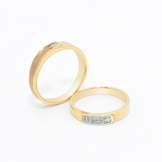 Cặp nhẫn đôi vàng vàng DOJI cao cấp 14K đính đá Swarovski JA8S