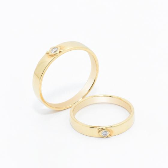Cặp nhẫn đôi vàng vàng DOJI cao cấp 14K đính đá Swarovski JA11S
